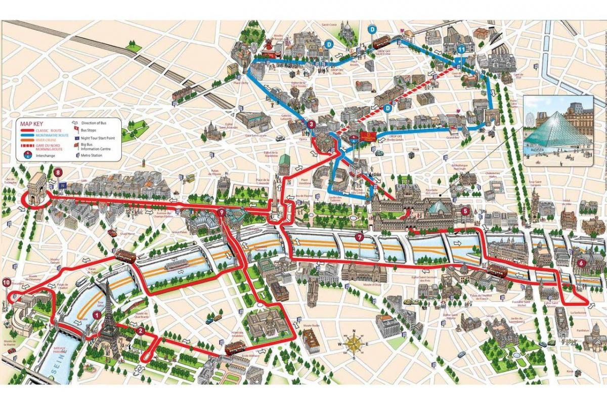París hop on hop off bus se detiene mapa